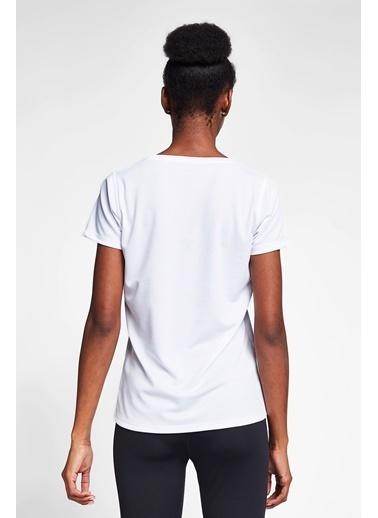Lescon Beyaz Kadın T-Shirt 20S-2204-20N Beyaz